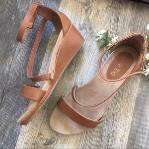 Me Too | 9W Tan Faux Leather Wedge Sandals
